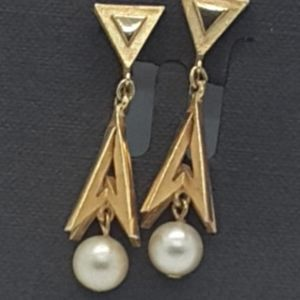 Trifari  vintage gold tone clip-on earrings